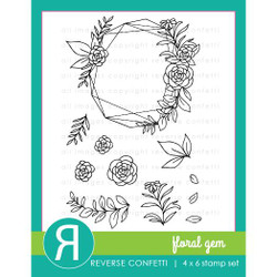 Floral Gem, Reverse Confetti Clear Stamps -