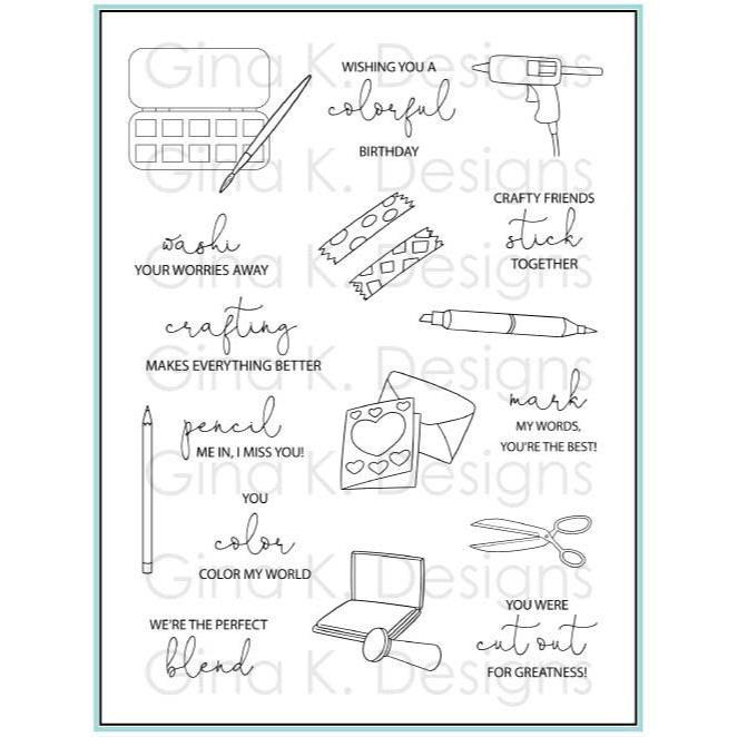 Crafty Notes, Gina K Designs Clear Stamps - 609015542309