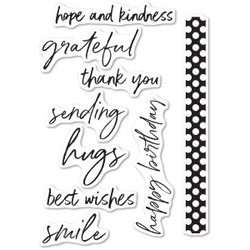 Bold Friendly Greetings, Memory Box Clear Stamps - 873980452363