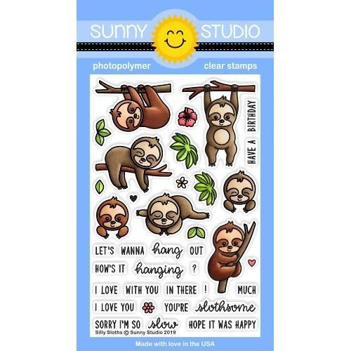 Silly Sloths, Sunny Studio Clear Stamps - 797648687112