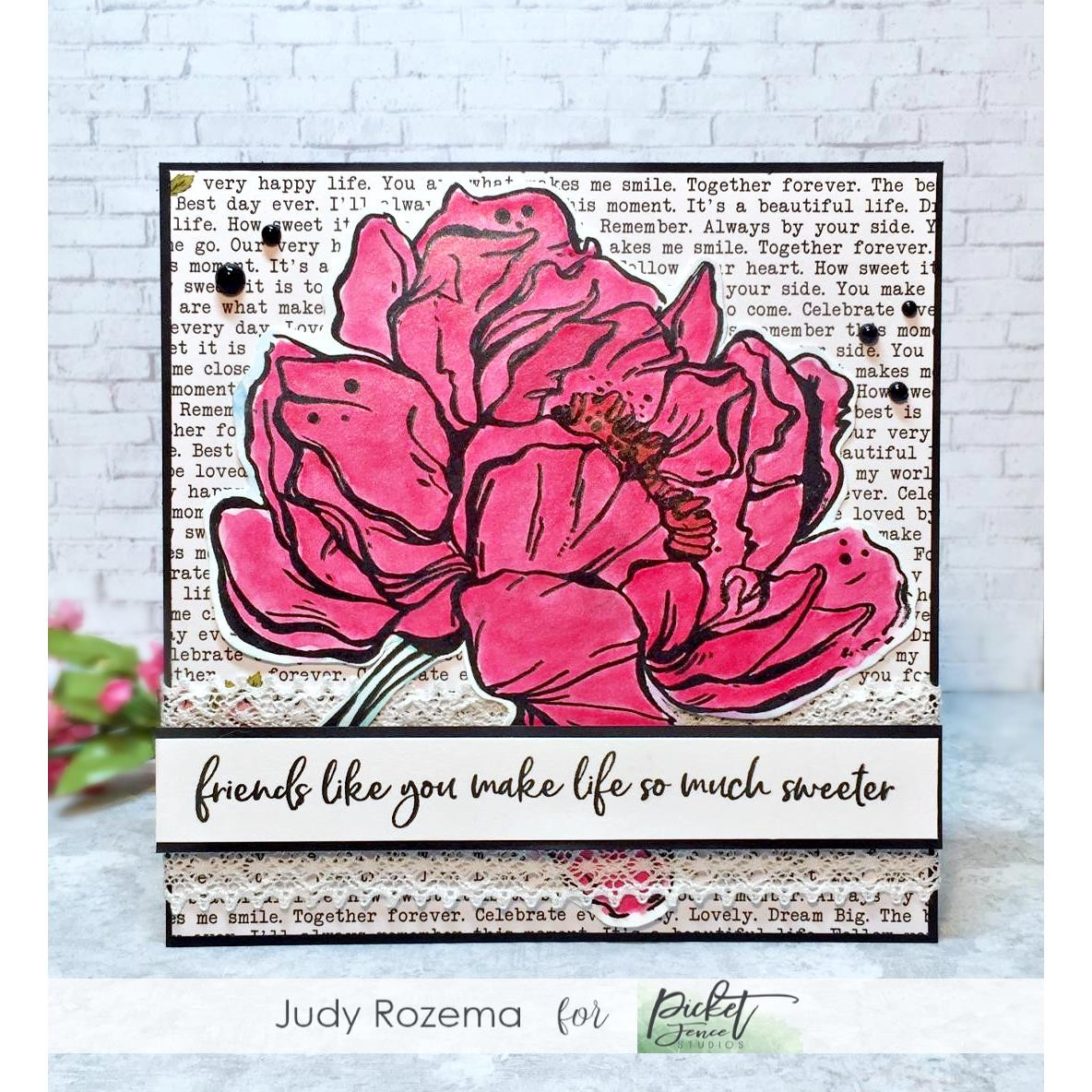 Botan Peony, Picket Fence Studios Clear Stamps - 745557994210