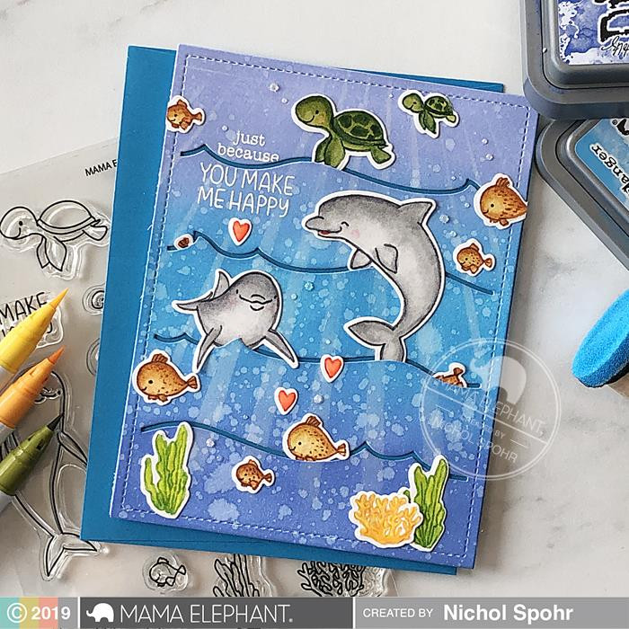 Marine Friends, Mama Elephant Clear Stamps -