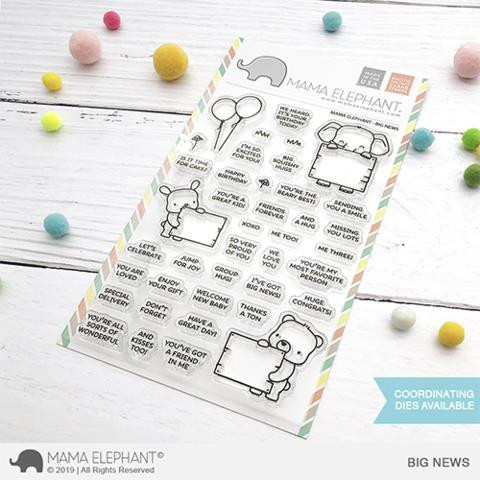 Big News, Mama Elephant Clear Stamps -