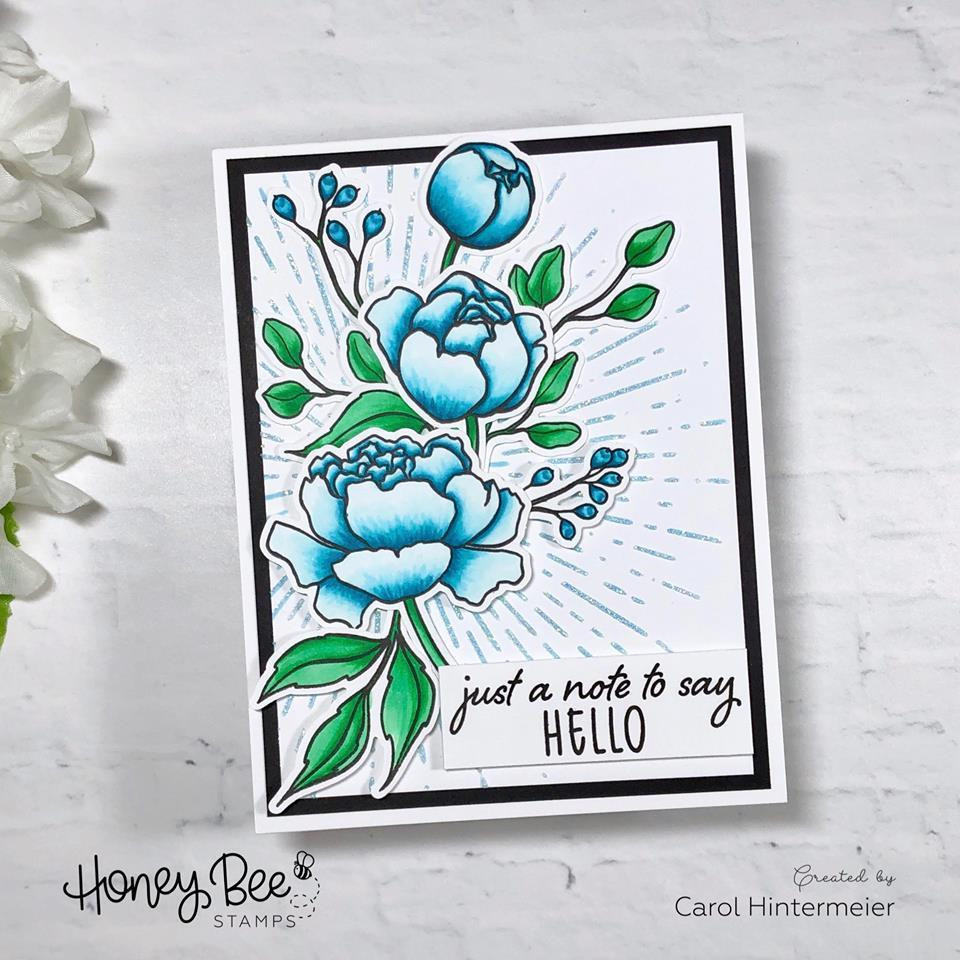 Spring Peony, Honey Bee Clear Stamps - 652827606615