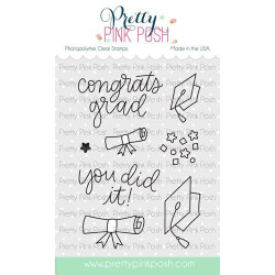 Congrats Grad, Pretty Pink Posh Clear Stamps -