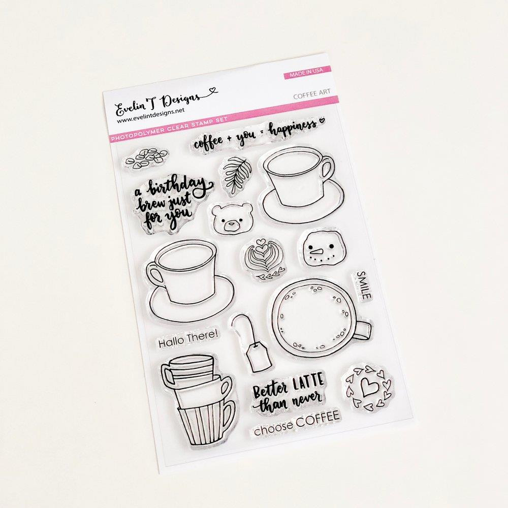 Coffee Art, Evelin T Designs Clear Stamps - 782150205411