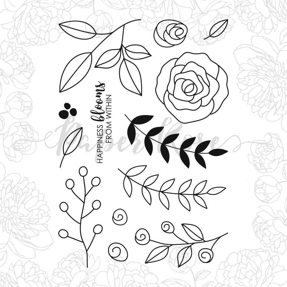 Ella's Garden Scribble Leaves, Paper Rose Clear Stamps -