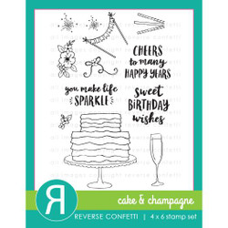 Cake & Champagne, Reverse Confetti Clear Stamps -