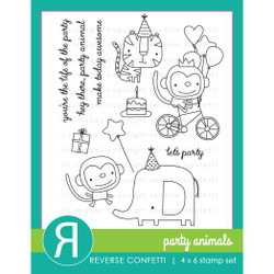 Party Animals, Reverse Confetti Clear Stamps -