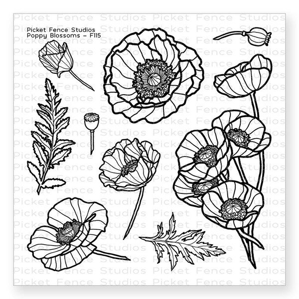 Poppy Blossoms, Picket Fence Studios Clear Stamps - 745557993879