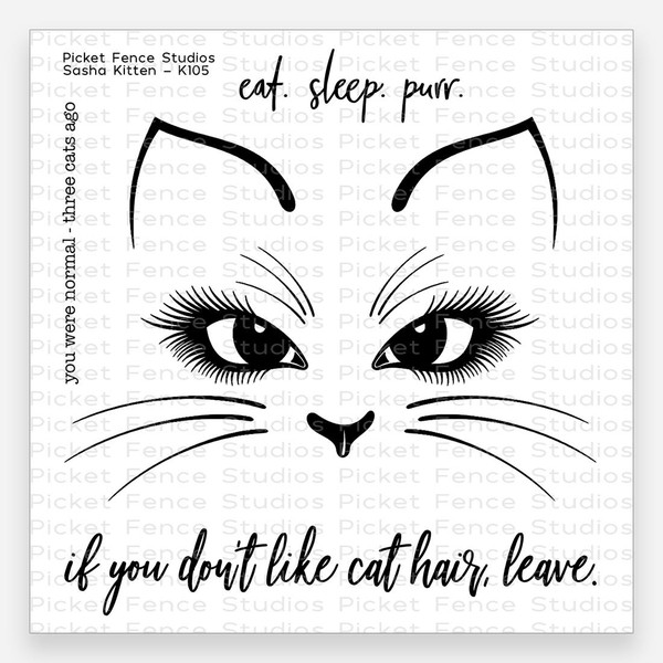 Sasha Kitten, Picket Fence Studios Clear Stamps - 745557994753