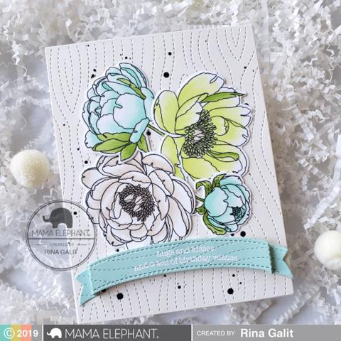 Peonies In Bloom, Mama Elephant Clear Stamps -