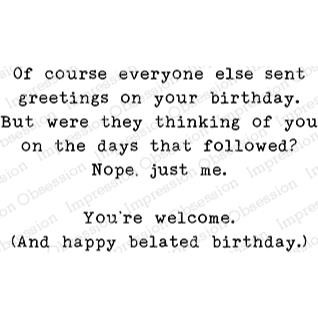 Birthday Greetings, Impression Obsession Cling Stamps -