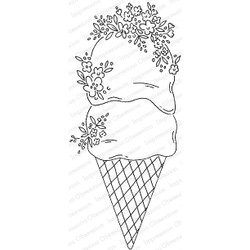 Floral Ice Cream, Impression Obsession Cling Stamps -