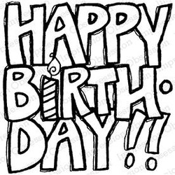 Happy Birthday Bold, Impression Obsession Cling Stamps -