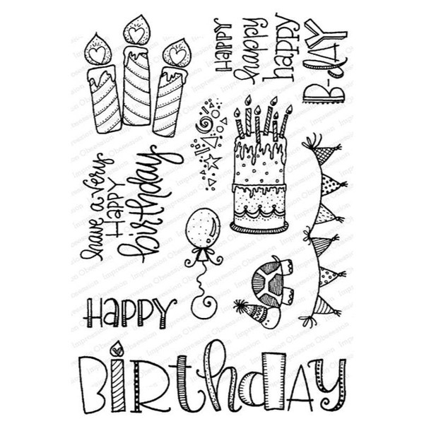 Happy Birthday, Impression Obsession Clear Stamps -