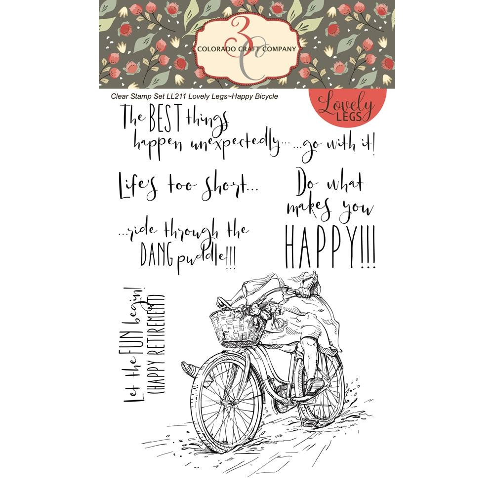 Happy Bicycle, Colorado Craft Company Clear Stamps - 8.57287E+115