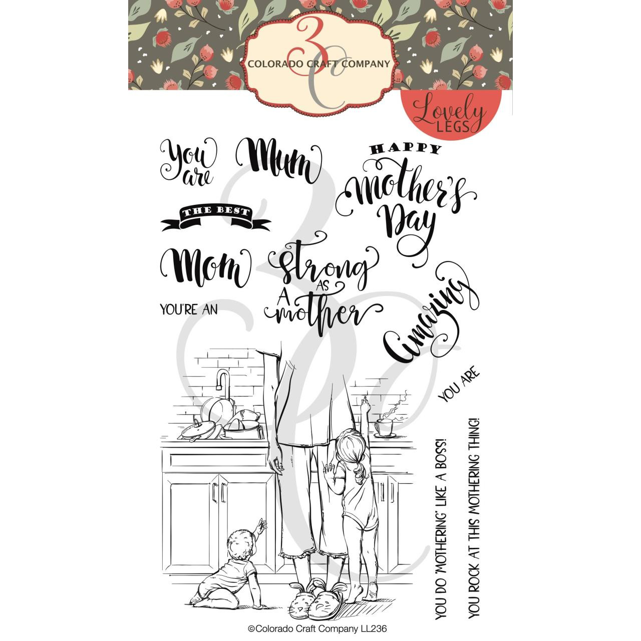 Tired as a Mother, Colorado Craft Company Clear Stamps - 8.57287E+115