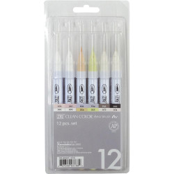Zig Clean Color Real Brush Marker Set B, Set of 12 - 847340037682