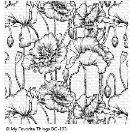 Poppies Background, My Favorite Things Cling Stamps - 849923030530