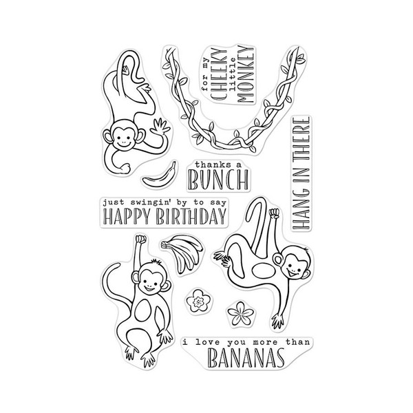 Thanks A Bunch Monkeys, Hero Arts Clear Stamps - 857009226852