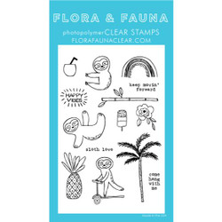 Summer Sloth, Flora & Fauna Clear Stamps - 725835782616