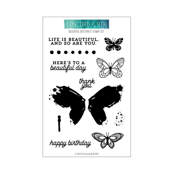 Beautiful Butterfly, Concord & 9th Clear Stamps - 090222400399