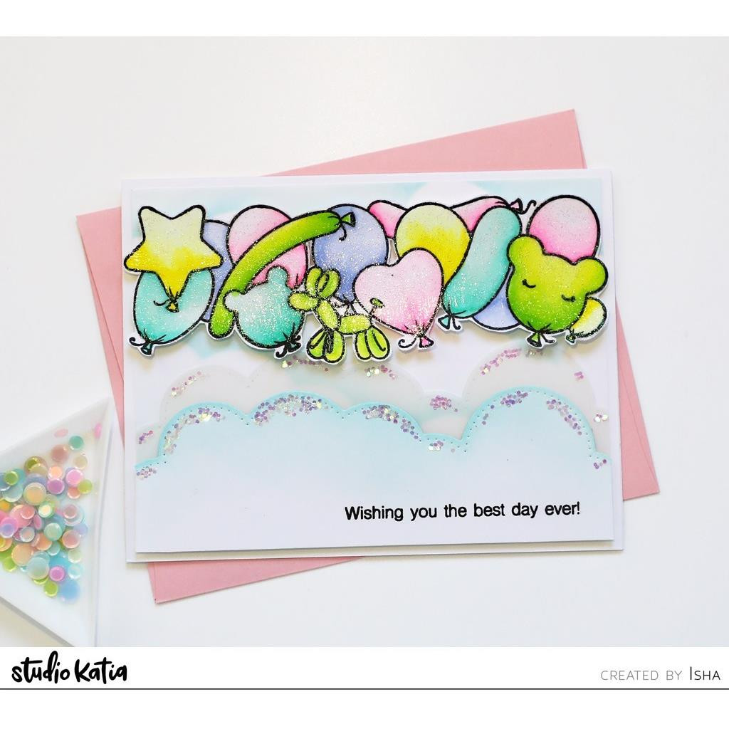 Birthday Balloons Horizontal, Studio Katia Clear Stamps -