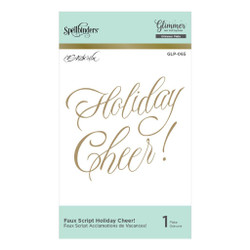 Faux Script Holiday Cheer Glimmer, Spellbinders Hot Foil Plates - 879216009134