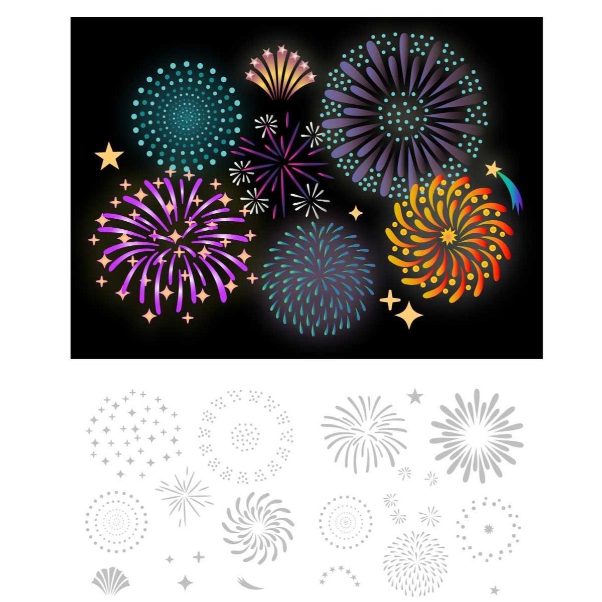 Layered Fireworks, Trinity Stamps Stencils -