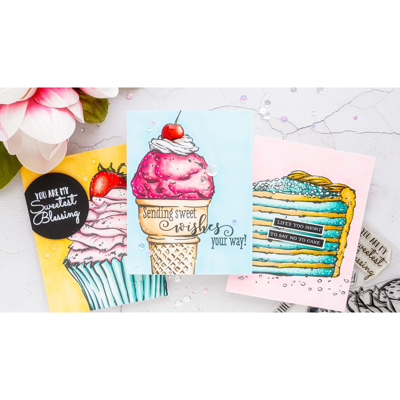 Sweetest Birthday Cone, Colorado Craft Company Clear Stamps - 857287008492