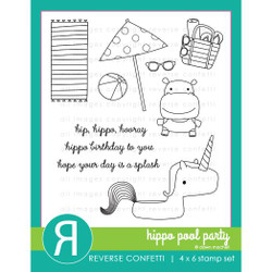 Hippo Pool Party, Reverse Confetti Clear Stamps -