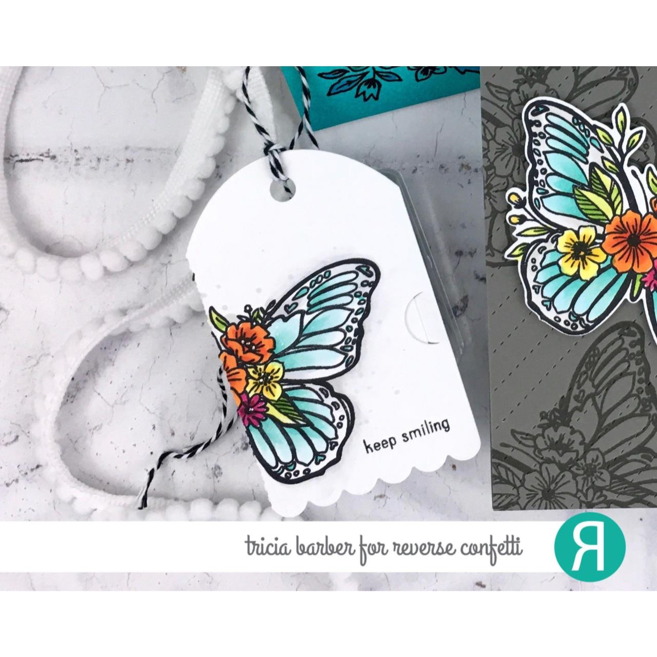 Butterfly Blossoms, Reverse Confetti Clear Stamps -