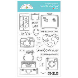I Love Travel, Doodlebug Clear Stamps - 842715063785