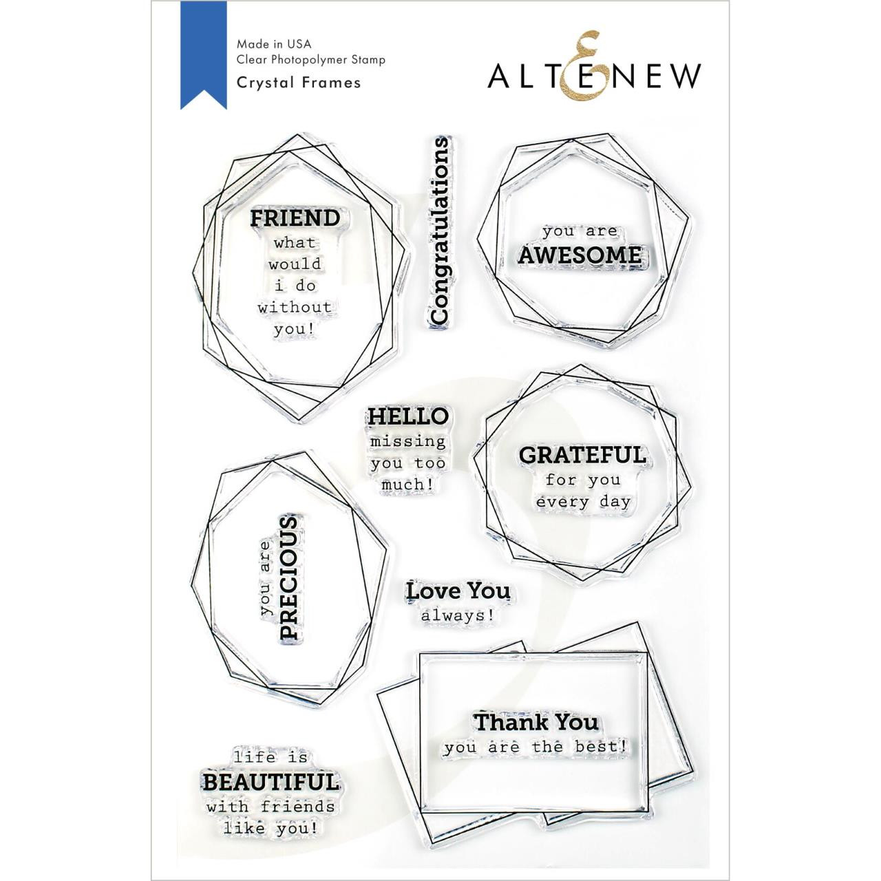 Crystal Frames, Altenew Clear Stamps - 704831302257