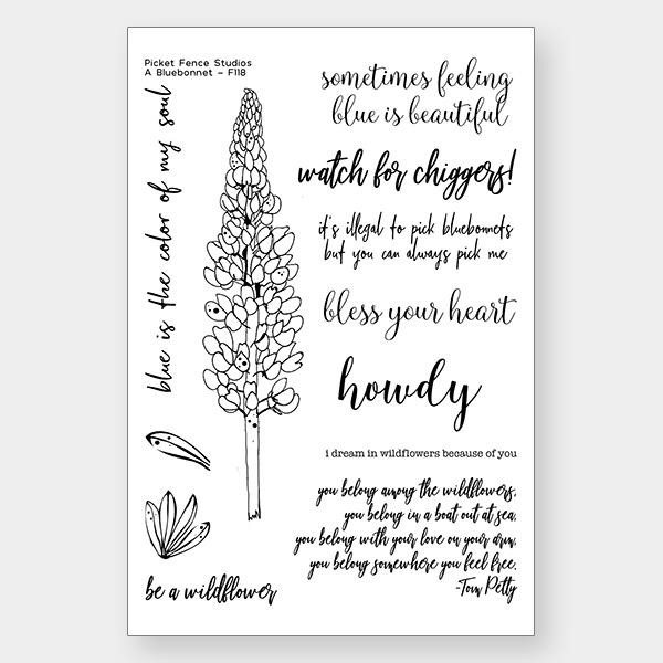 A Bluebonnet, Picket Fence Studios Clear Stamps - 745557994784
