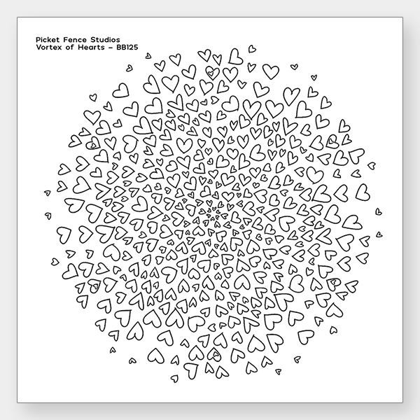 Vortex Of Hearts, Picket Fence Studios Clear Stamps - 745557997679