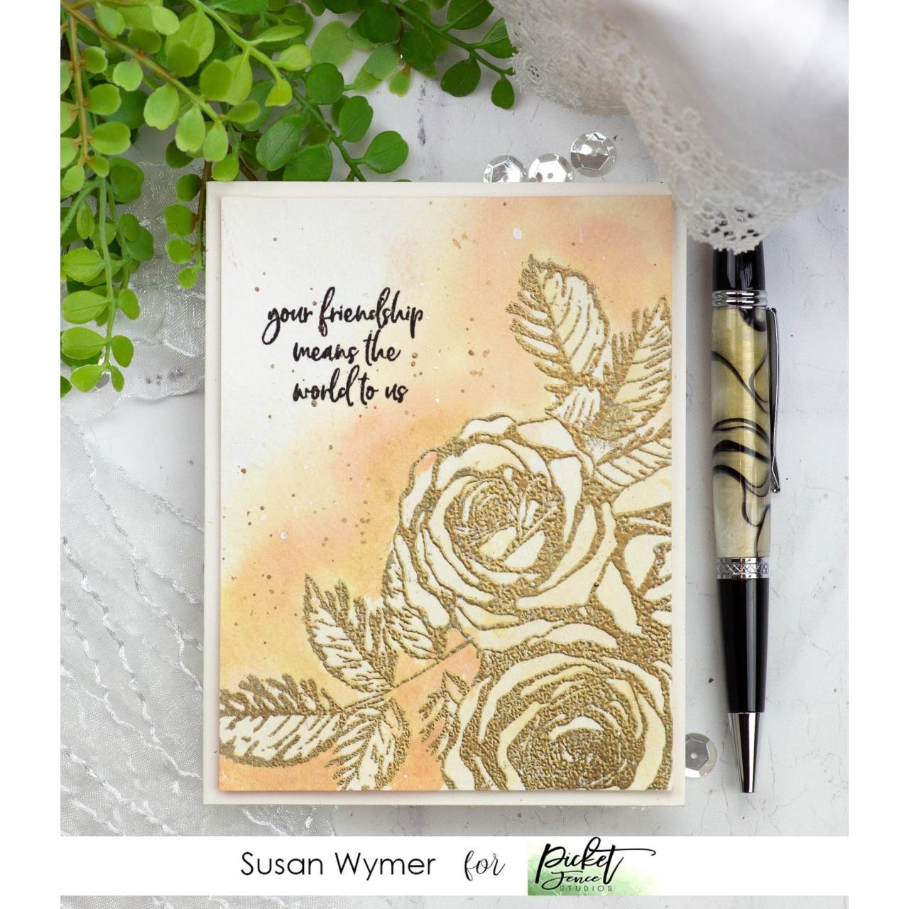 Rosa Eden Roses, Picket Fence Studios Clear Stamps - 745557999819