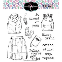 Coffee, Study, Nap, Colorado Craft Company Clear Stamps - 857287008560