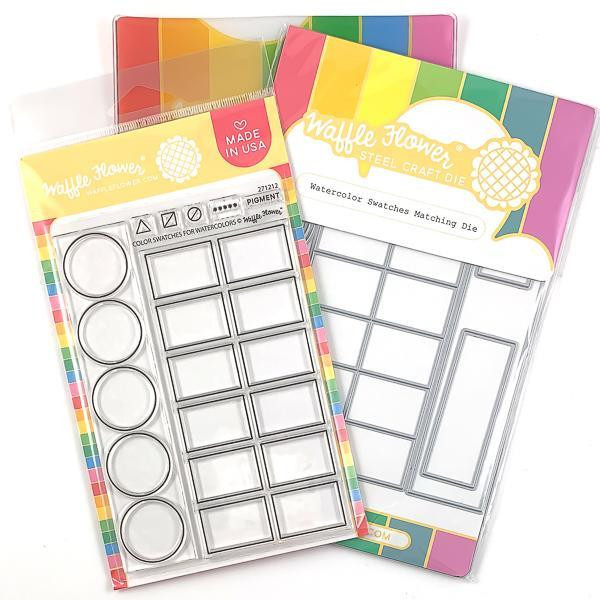 Watercolor Swatches, Waffle Flower Stamp & Die Combo - 644216559725