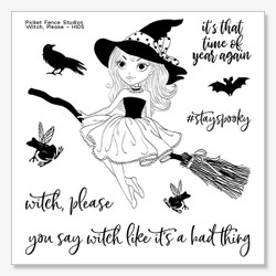 Witch, Please, Picket Fence Studios Clear Stamps - 745557001634