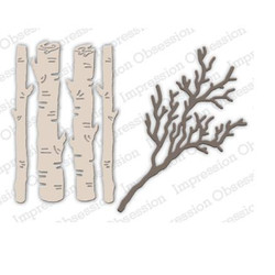 Birch Logs & Twigs, Impression Obsession Dies - 845638026943