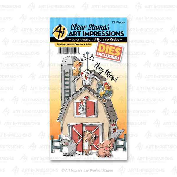 Barnyard Animal Cubbies, Art Impressions Clear Stamps - 750810796296