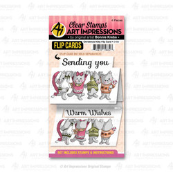Christmas Kitty Flip Card, Art Impressions Clear Stamps - 750810796326