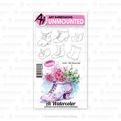 Watercolor Shoe, Art Impressions Cling Stamps - 750810796432