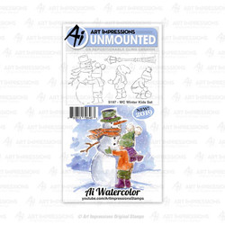 Watercolor Winter Kids, Art Impressions Cling Stamps - 750810796463