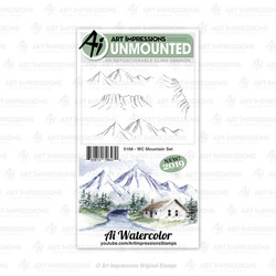 Watercolor Mountain, Art Impressions Cling Stamps - 750810796470