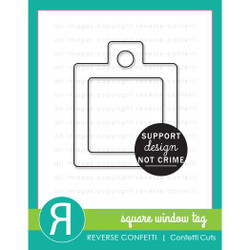 Square Window Tag, Reverse Confetti Cuts -