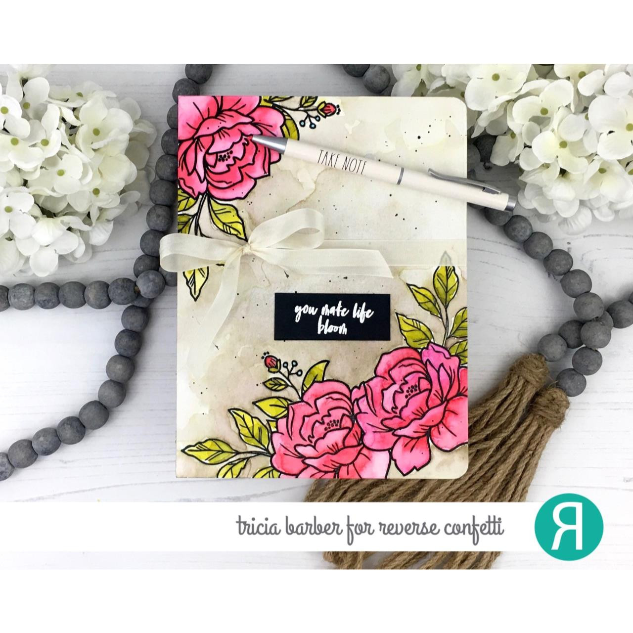 Peony, Reverse Confetti Clear Stamps -