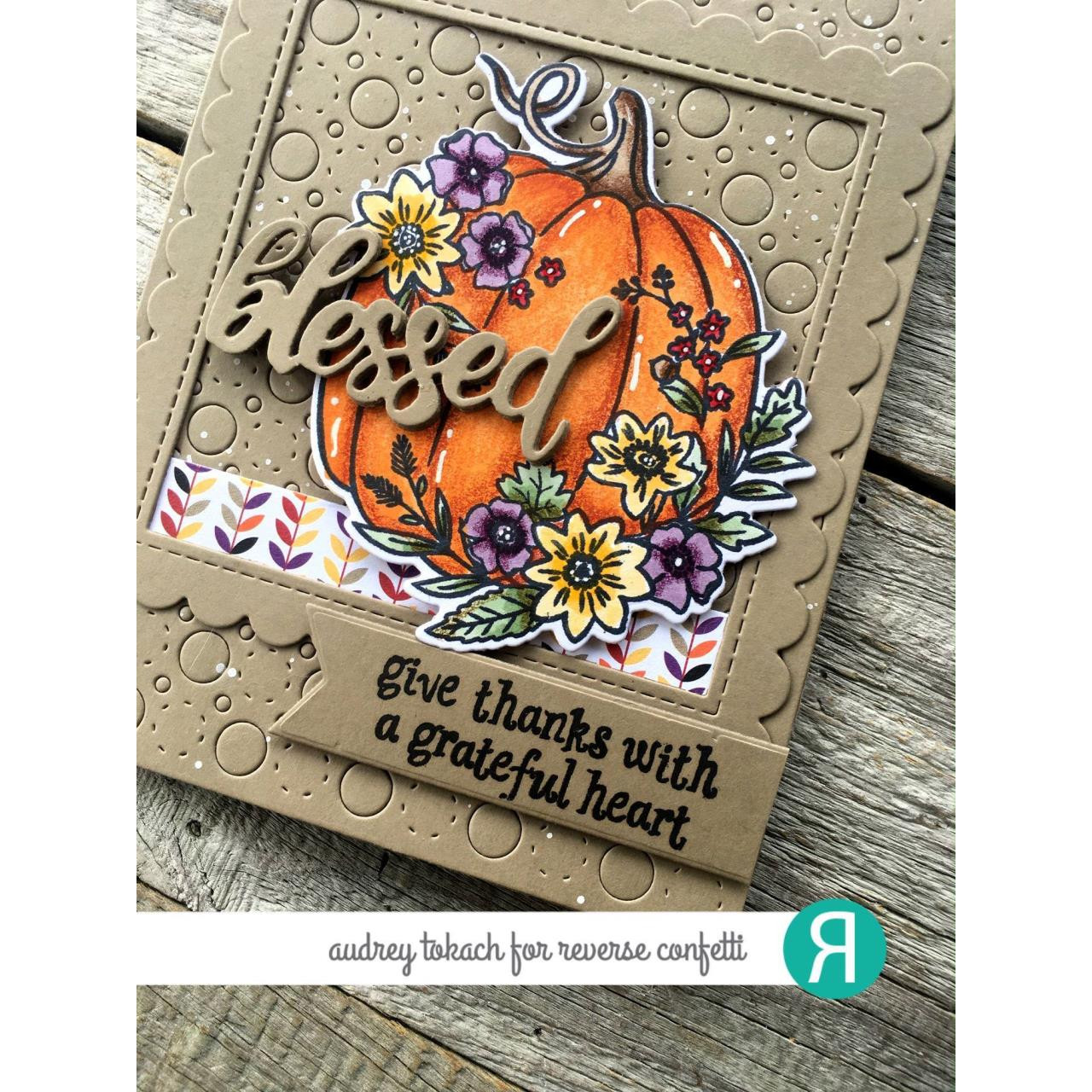 With A Thankful Heart, Reverse Confetti Clear Stamps -
